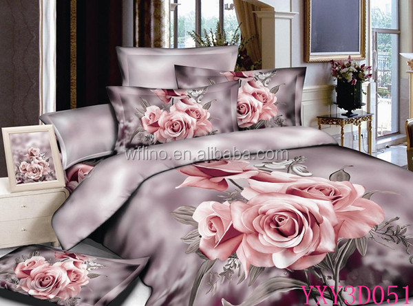 Trade Assurance 40x40 133x72panel reactive printed rose 3D designs fabric for 3D digital printed duvet cover