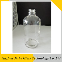 16 oz clear boston round glass bottle with open cap 28-400