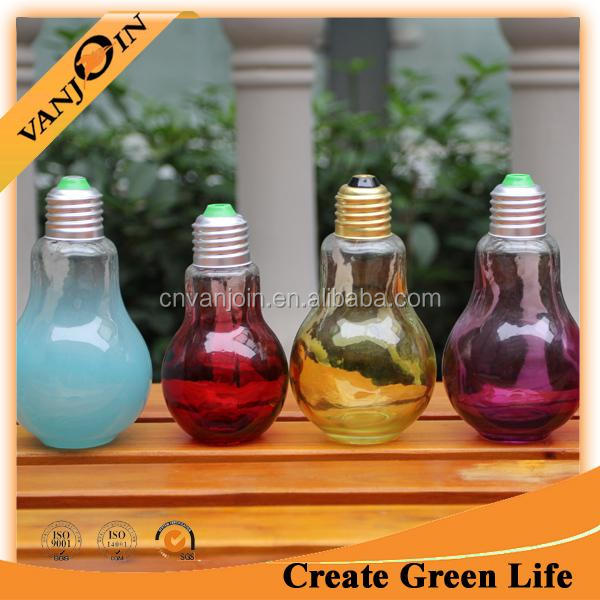 400ML LIGHT BULB thick clear Glass BOTTLE Lid jar, decorative Craft round Container