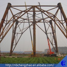 Advanced configuration 3/4L angular/tubular power transmission tower , hot dip galvanization electric poles