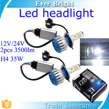 360 degree beam 35w 2pcs T1 led H4 bulb led light car 12V/24V 3500LM led headlight bulb h4