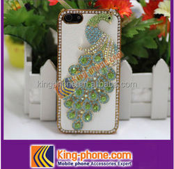 for iphone 5/5s bling bling crystal peacock mobile phone case ,pasted diamond cheap phone cover for iphone 5s
