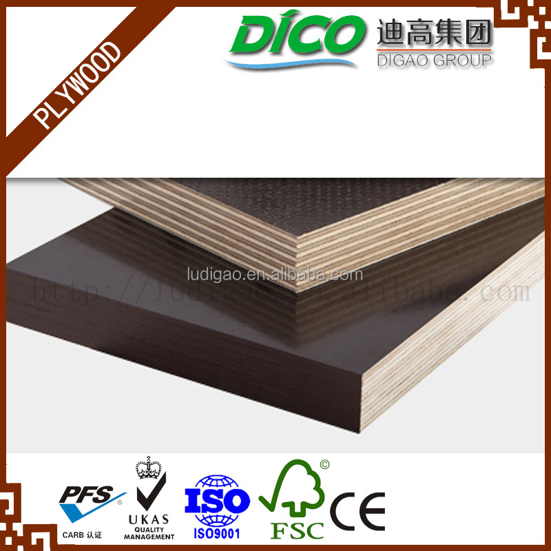 Hot Press Brown Film WBP glue 15mm Film Faced Plywood, 15mm Concrete Formwork Plywood , 15mm Shuttering Plywood with Logo