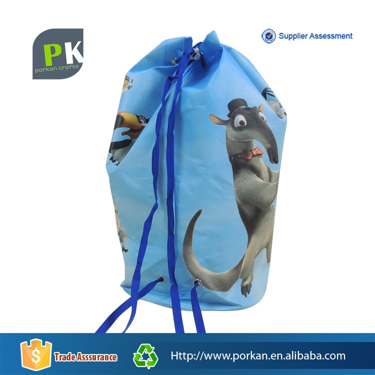 Wholesale drawstring quilted fabric ziplock fabric kids school backpack shoe bag