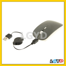 2.4GHz DPI 4D Wireless Optical Mouse with USB Mini Receiver & USB Retractable Cable, Working Distance: 10m (Black)