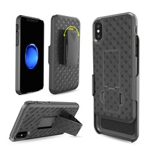 Mobile phone accessories hot selling multifunctional weave pattern holster combo case with belt clip and kickstand for iPhone X