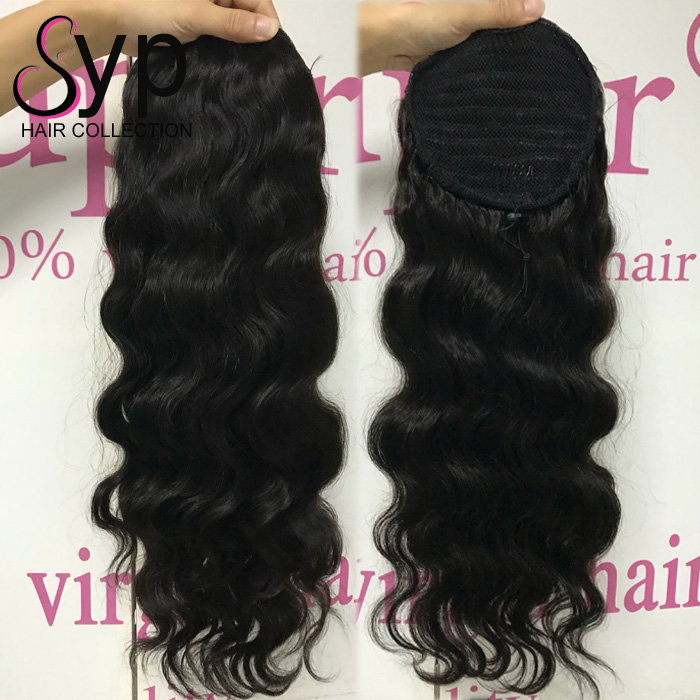 Brazilian Human Permanent Hair Extensions 10 Inch To 28 Inch Drawstring Ponytail
