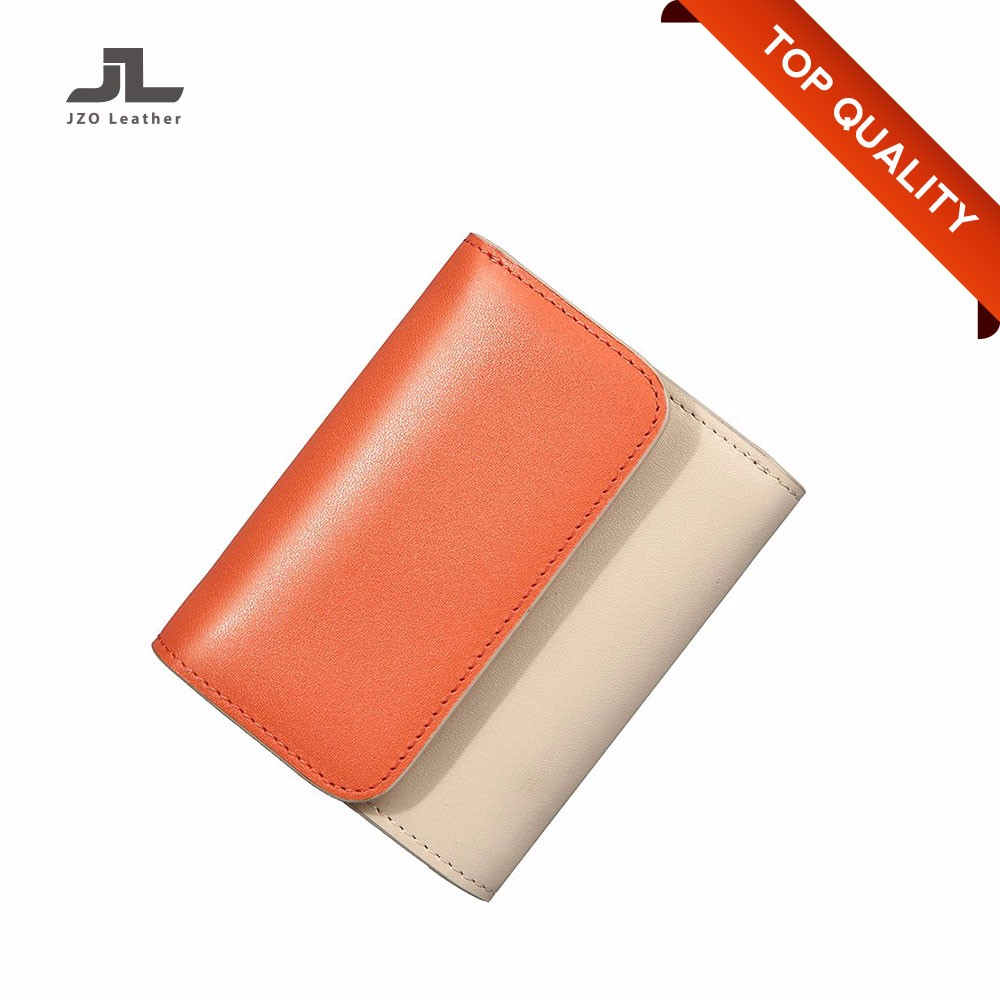 Direct Factory Cheap Waterproof Genuine Leather Woman Small Cascade Wallet