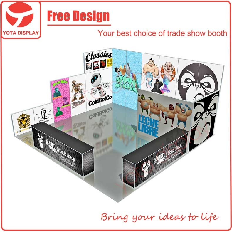 Yota 6x6 or 20x20 aluminum material trade show booth exhibit display for Planet Vapes