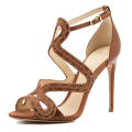 Brown genuine leather new style open toe party 8 cm high heel formal female sandals