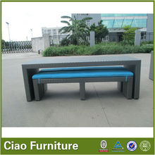 Garden rattan furniture long bench table and chair