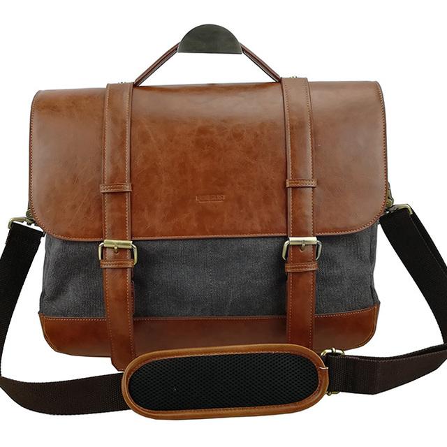 Men's Vintage Canvas PU Leather School shoulder Bag messenger Bag