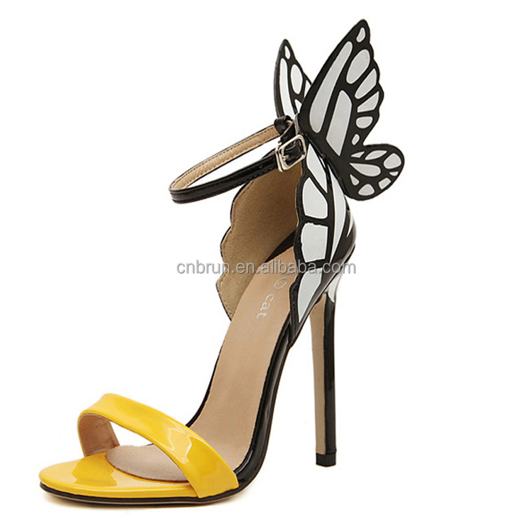 Women's High Heel Pointy Toe Ankle Strap Sandals shoes yellow COLOR