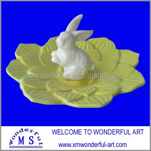 colorful ceramic jewelry display tray with rabbit decor