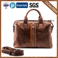 Factory Direct Sales Logo Printed Genuine Leather Office Bag Wholesale Leather Briefcase For Men
