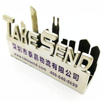 Unique promotion gift bulk 3D metal business name card holders for desk