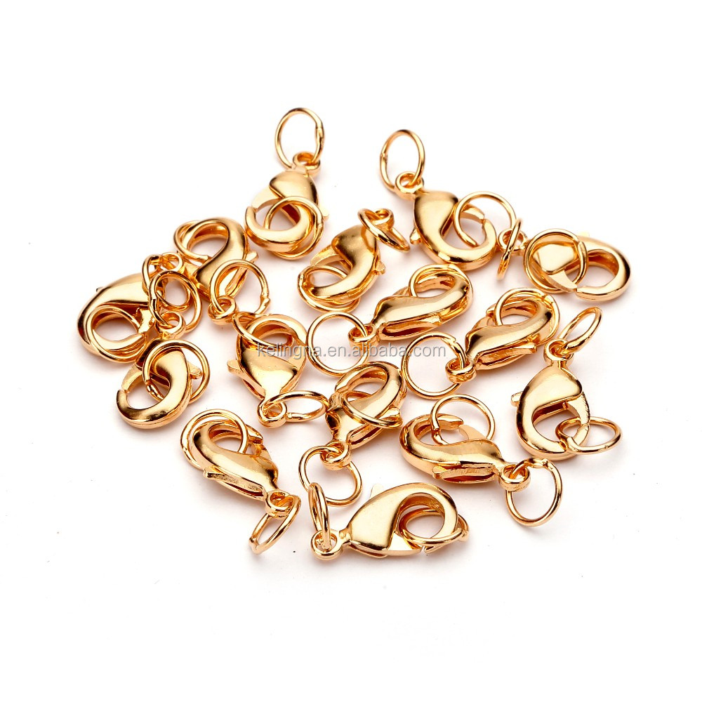 TOP Quality 15mm Gold Plated Jewelry Lobster Claw Clasp Findings with 2pcs 7mm Open Jump Rings 15pcs per Bag for Jewelery Making