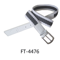 2016 new design leather and webbing stripes casual belt