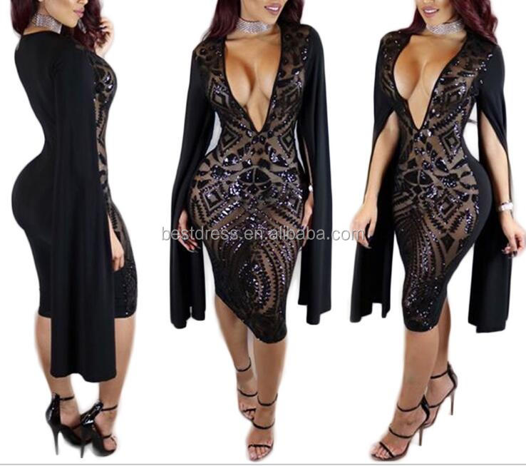 Fashion Women Sexy V Neck Sequins Bandage Bodycon Club Cocktail Party Mini <strong>Dress</strong>