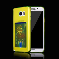 Gel Transparent Cover with Notes Card Slot holder TPU Silicone Back Case for samsung galaxy s3 s4 s5 s6 edge plus note 3 4 5