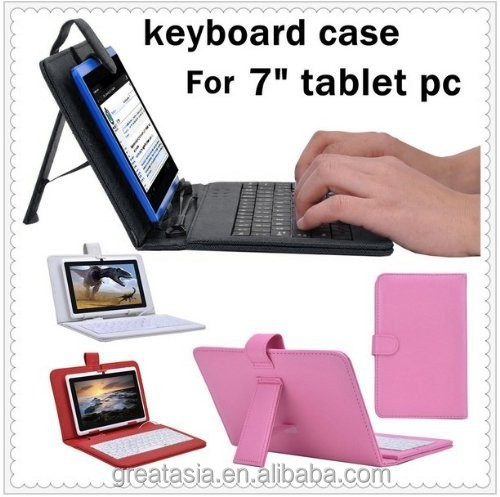 "7 inch Universal Tablet PC PU Leather Case with Keyboard/Holder/Capacitive stylus for 7"" Tablet PC MID"