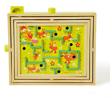 Labyrinth game Wooden Maze Game with Two Steel Marbles, Puzzle Game for Adults, Boys and Girls