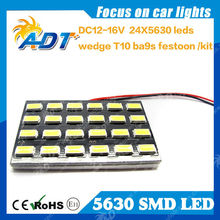 Car LED Panel Light White 5630 24SMD LED Car Interior Dome Reading Light Bulbs Adapter
