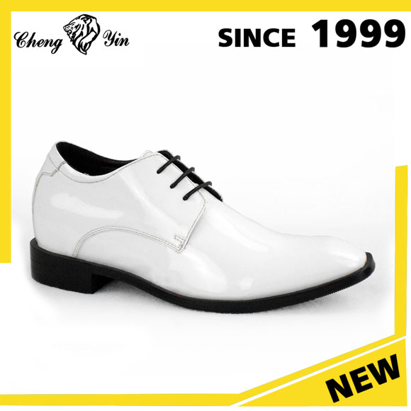 Alibaba Wholesale White Shiny Leather 7cm Height Increasing Office Dress Shoes Men