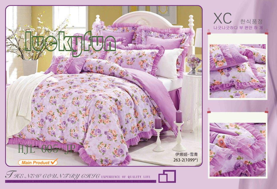 Printed Comfortable Duvet Cover Bed Sheet Set Jacquard And