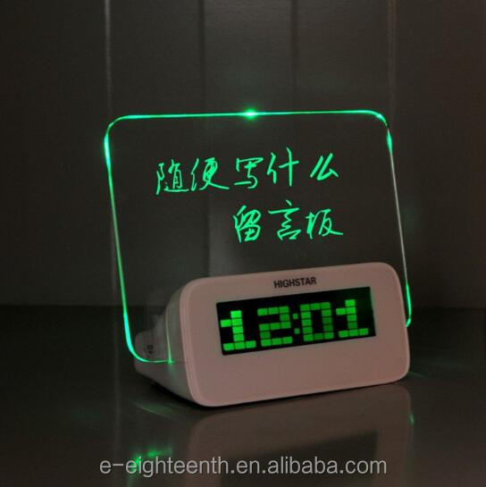 2017 LED Light Fluorescent Message Board Digital USB HUB Wall Alarm Clock Calendar