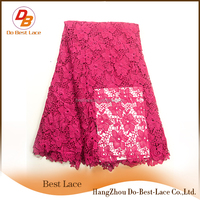 2016 new arrivals fushia african tulle lace fabric fashion women wedding dress chemical lace dress