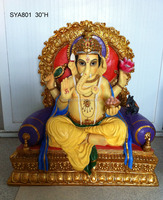 Large Decorative hindu god colourful clay ganesh idols murti Indian pooja products