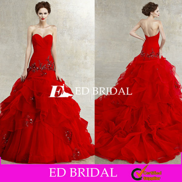Sexy Sweetheart Ball Gown 2015 Popular Red Tulle Wedding Dress Patterns Free