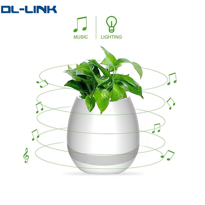 MK3 Creative <strong>gifts</strong> 2017 Touch Sensitive Planter Bluetooth Music Speaker Flowerpot with Colorful Light