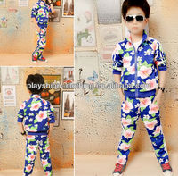 2013 Autumn Kids Star Clothing Boys Flower Printed Sets