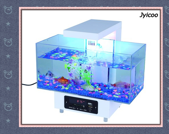 JYX-2013D-3 USB mini aquarium and music player fish tank with automatically changing colorful led lights in fish bowl