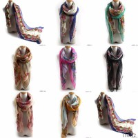 2015 Fashion Style Hot Sale Europe SK Fringe Floral Scarves Cotton Voile Countryside Neckerchief Scarf Wholesale