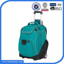 Hot selling 600D trolley school bag with detachable backpack