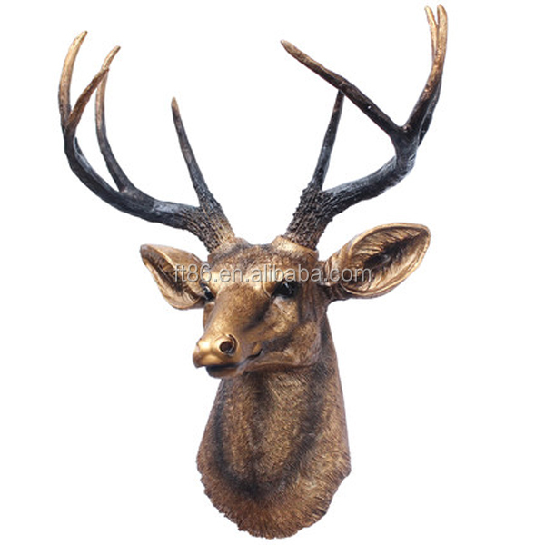 New arrivel plastic sculpture plush full wall animal head hanging