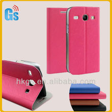 Hot-pink flip leather case for samsung galaxy core i8260 i8262