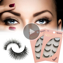 4D Mink Eyelashes Synthetic Natural Strip Eye Lashes Samples Wispy Custom <strong>Flat</strong> Clear Band False 100% Own Brand Box Glue