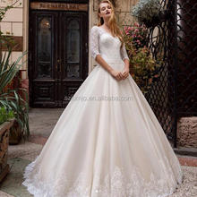 2018 Simple Half Lace Sleeve A Line White Wedding Dress Bridal Gown Western Country Bridal Dresses 2017