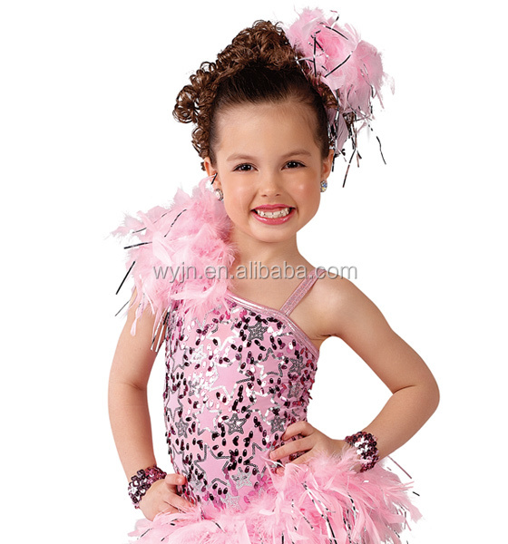 2016 style- pink star kids latin jazz -Sugar Babies asymmetrical leotard latin dress