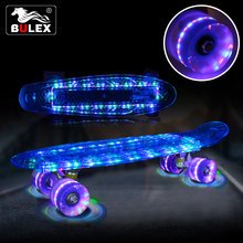 2017 New transparent LED skateboard LED wheels custom plastic skateboard