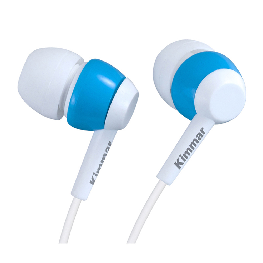 Comfortable free logo novel design blue white wire inear plastic earphone with mic ear buds easy and simple to handle