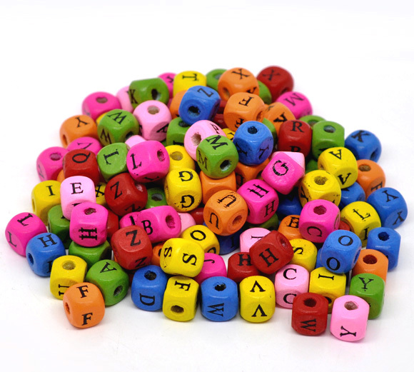 Wholesale Mixed Color Alphabet /Letter Cube Square Wood Beads