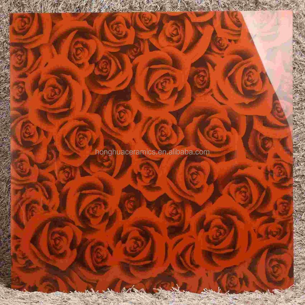 800*800 living room hotel 3D floor tiles creative red rose 3D three-dimensional ceramic tile
