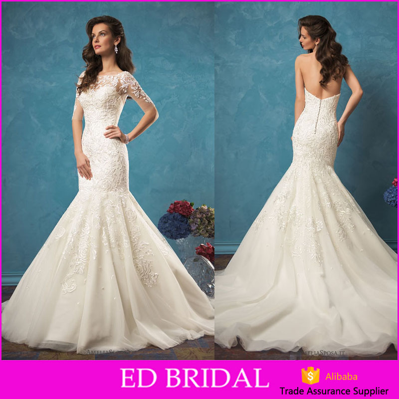 LN442 New design lace appliqued mermaid bridal gown detachable jaceket wedding dress guangzhou