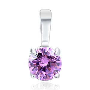 POLIVA Wholesale Simple Beautiful Design Valentines Day 925 Silver Rhodium Plated Pink Cz Charms Pendant