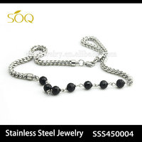 Wholesale Alibaba Silver Plated Stainless Steel Wheat Chain Jewelry for Women & Men with Black Acrylic Beaded Necklace